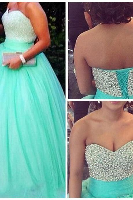 Turquoise Tulle Ball Gowns Prom Dresses Sweetheart Beaded Evening Dress Party Formal Dress Gowns Vestidos