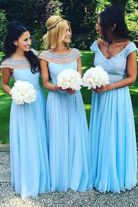 Cap Sleeves Bridesmaid Dresses,Blue Bridesmaid Dress,Charming bridesmaid dress,Custom bridesmaid dress, Wedding Party Dresses,Long Bridesmaid Dress,Bridesmaid Dresses,Bridal Gowns