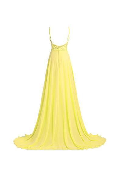 Beautiful A line Straps Beading Long Prom Dresses Evening Dresses