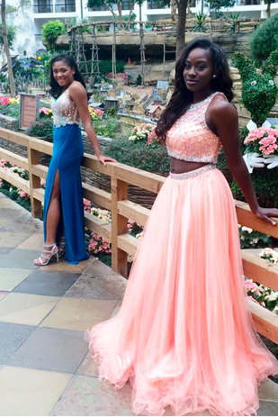 Two Piece Prom Dresses,Sexy Evening Gowns,tulle prom dresses,evening gowns