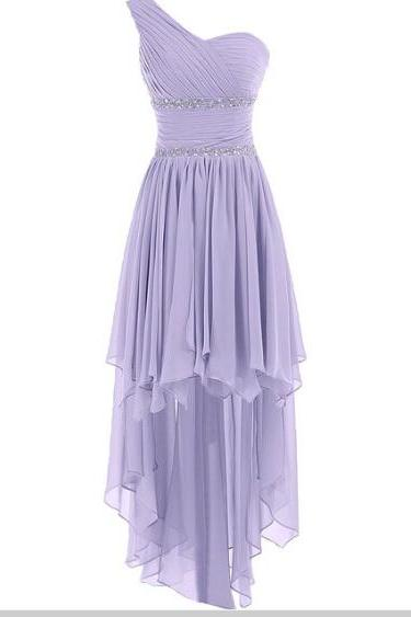 Lavender High Low Chiffon Pleated Evening Dress featuring Ruched One Shoulder Bodice with Beaded Embellishments
