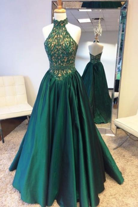 New Arrival Prom Dress,Elegant Halter Sweep Train Hunter Prom Dress with Lace Beading