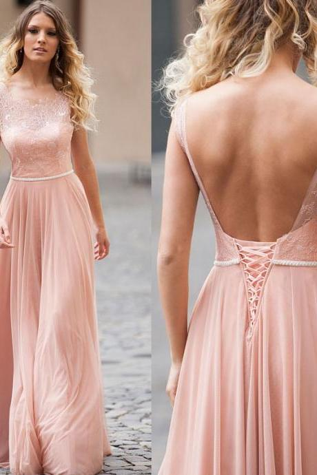 Blush Chiffon Prom Dress, Open Back Long Prom Gown, Long Party Dress With Lace Top