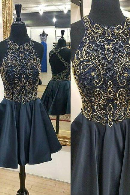 New Arrival Sexy Prom Dress, Short Prom Dress,Beaded Prom Dresses,Backless Prom Gown,Party Dress