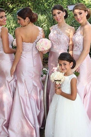 Pale Pink Mermaid Bridesmaid Dresses Junior Bridesmaid Wedding Party Gowns