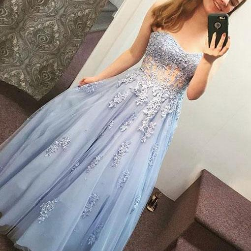 Blue lace tulle long prom dress, sweetheart evening dress P1605