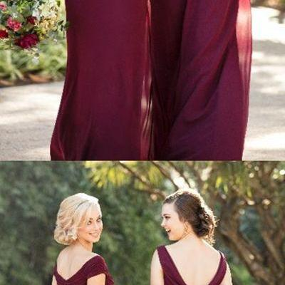 elegant burgundy bridesmaid dresses,simple chiffon wedding party dress,long off the shoulder bridesmaid dress