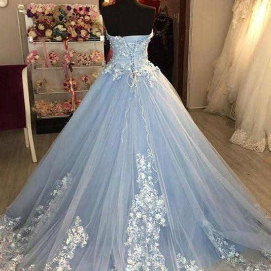 Blue sweetheart neck tulle lace applique long prom dress, blue evening dress