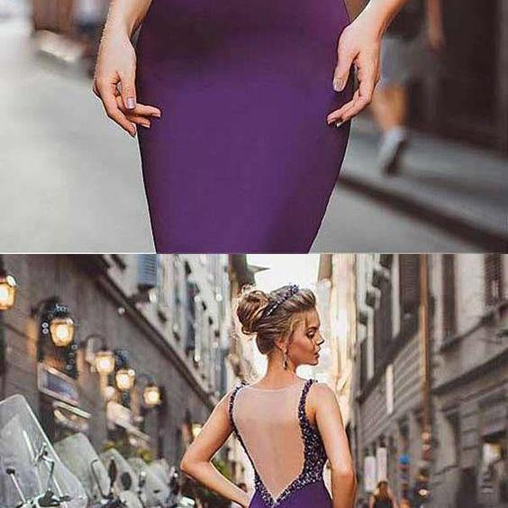 Simple Prom Dresses Neckline Satin Purple Mermaid Evening Dresses With Beadings