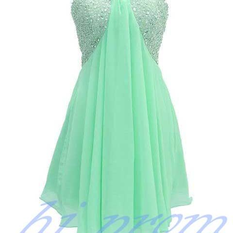 Mint Green Homecoming Dress,Empire Homecoming Dresses,Chiffon Homecoming Dress,Princesses Party Dress,Sparkly Prom Gown,Cute Sweet 16 Dress,Backless Cocktail Gowns,Short Evening Gowns