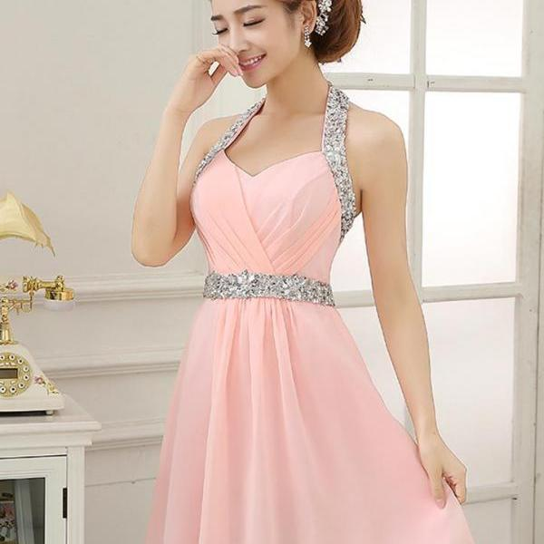 Pink Homecoming Dresses,Homecoming Dress, Cute Homecoming Dresses, Chiffon Homecoming Gowns,Short Prom Gown