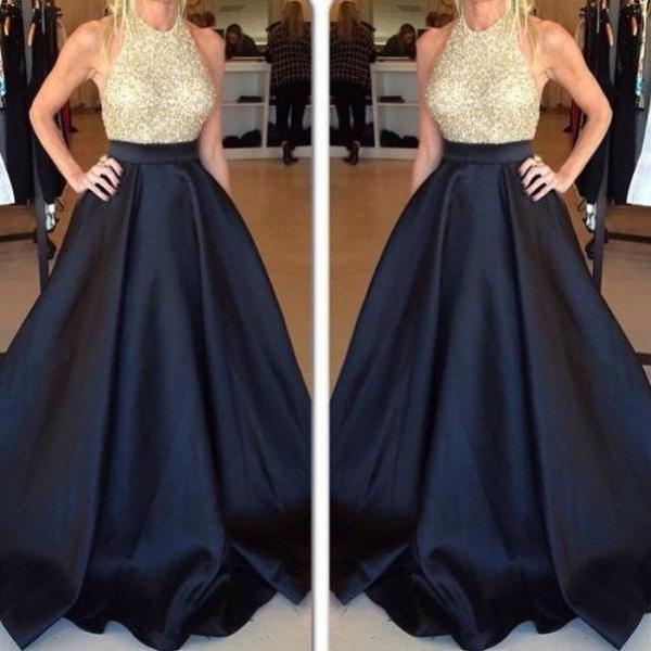 Designer Prom Dress,Halter Prom Dresses ,Beaded Evening Gowns,Navy ...