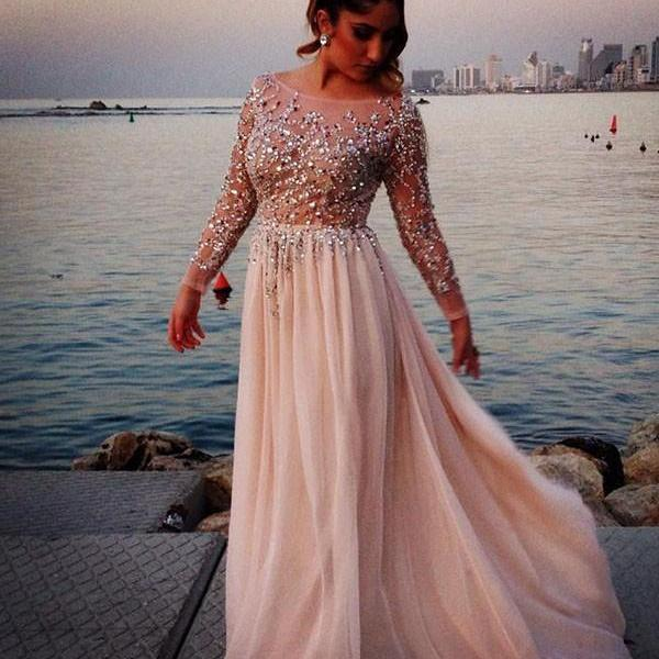 Light Pale Pink Prom Dresses,Beaded Prom Gowns,Pink Prom Dresses ...