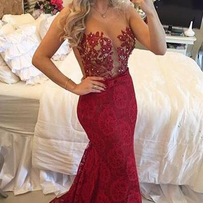 Wine Red Prom Dresses,Charming Evening Dress,Burgundy Prom Gowns,Lace Prom Dresses,2016 New Prom Gowns,Gold Evening Gown,Backless Party Dresses