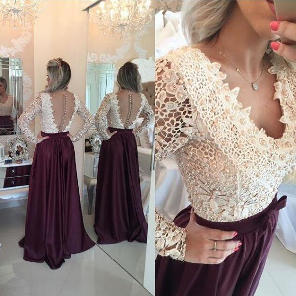 Wine Red Prom Dresses,Charming Evening Dress,Burgundy Prom Gowns,Lace Prom Dresses,2016 New Prom Gowns,Evening Gown,Backless Party Dresses