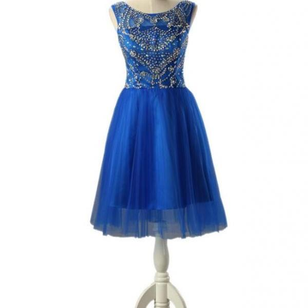Royal Blue Homecoming Dress,Simple Homecoming Dresses,Beading Homecoming Gowns,Short Prom Gown,Sweet 16 Dress,Bling Homecoming Dresses,Cocktail Dress,Glitter Formal Dress