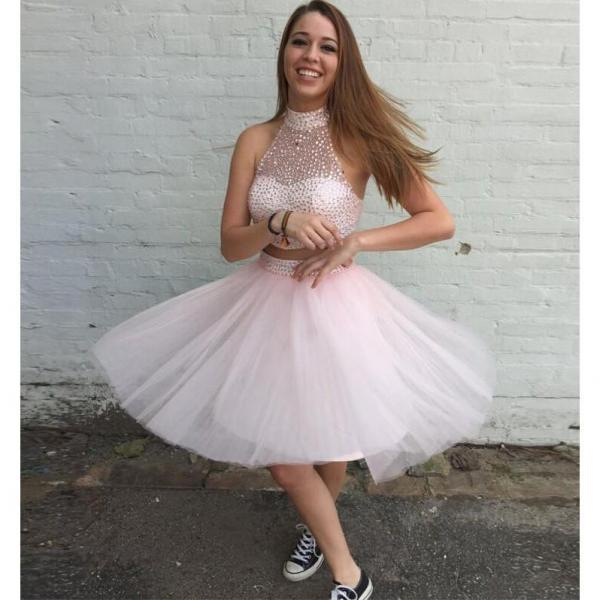 Pink Homecoming Dress,2 Piece Homecoming Dresses,Silver Beading Homecoming Gowns,Short Prom Gown,Blush Pink Sweet 16 Dress,Homecoming Dress,2 pieces Cocktail Dress,Two Pieces Evening Gowns