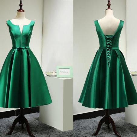 Green Homecoming Dress,Green Homecoming Dresses,Satin Homecoming Dress,Party Dress,Prom Gown, Sweet 16 Dress,Cocktail Gowns,Short Evening Gowns