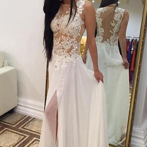 White Prom Dresses,Lace Prom Dress,Sexy Prom Dress,Simple Prom Dresses,2016 Formal Gown,Evening Gowns,Party Dress,Prom Gown For Teens