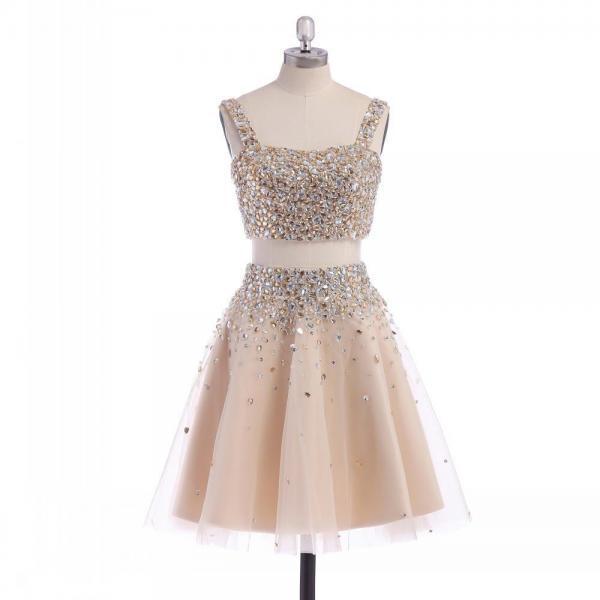 Two Piece A-line Short Tulle Prom Dress with Rhinestone Jewels Embellishment