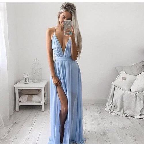 Light Blue Prom Dresses,Backless Evening Gowns,Sexy Formal Dresses,Halter Prom Dresses,2016 Fashion Evening Gown,Open Backs Evening Dress