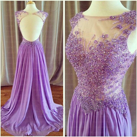 Lilac Prom Dresses,Sexy Prom Gown,Backless Evening Gowns,Backless Party Dress,Chiffon Evening Dress,2016 Prom Dress