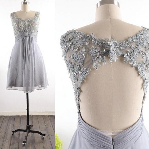Grey Homecoming Dress,Modest Silver Gray Homecoming Gown,Grey Tulle Homecoming Gowns With Open Back Sequins Party Dress,Backless Sweet 16 Dresses,Short Cocktail Dress,Formal Gowns for Summer