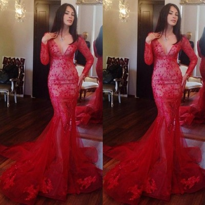 Red Prom Dress,Mermaid Prom Dress,Lace Prom Gown,Beaded Prom Dresses,Sexy Evening Gowns,Long Sleeves Evening Gown,Formal Dress For Teens