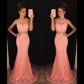 Pink Prom Dresses,Pink Evening Gowns,Simple Formal Dresses,2 pieces Prom Dresses,Teens Fashion Evening Gown,Beadings Evening Dress,Pink Party Dress,Prom Gowns