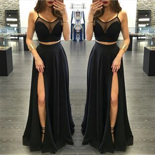 2 Piece Prom Gown,Two Piece Prom Dresses,Black Evening Gowns,2 Pieces Party Dresses,Black Evening Gowns,Formal Dress For Teens