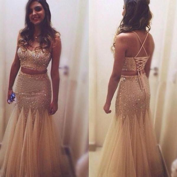 Mermaid Prom Gown,Two Piece Prom Dress,Evening Gowns,2 Pieces Party Dresses,Champagne Evening Gowns,2 Pieces Formal Gown For Teens