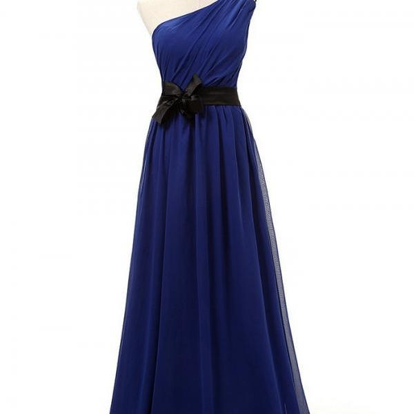 One Shoulder Prom Dress,Royal Blue Chiffon Prom Dress,Long Prom Dress,Evening Gown