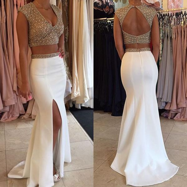 Charming Evening Dress,Two Piece Prom Dress,Long Evening Dress,Formal Dress,Sexy Backless Prom Dress