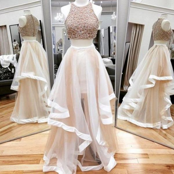 A Line Prom Gown,Two Piece Prom Dress,Evening Gowns,2 Pieces Party Dresses,Champagne Evening Gowns,2 Pieces Formal Gown For Teens