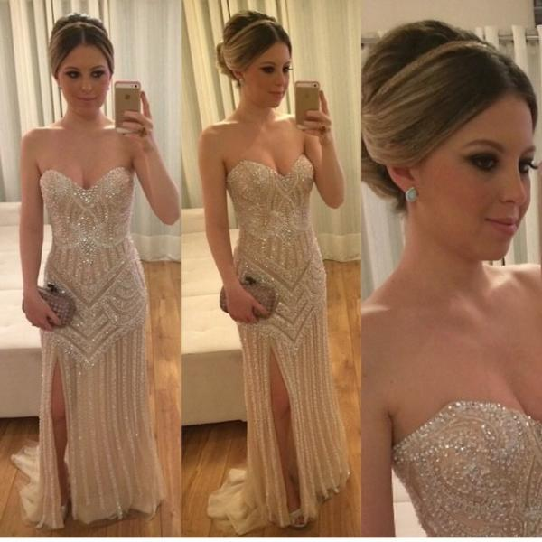 Mermaid Prom Dresses,Champagne Prom Dress,Slit Prom dress,Modest Evening Gowns,Elegant Party Dresses,Long Evening Gowns